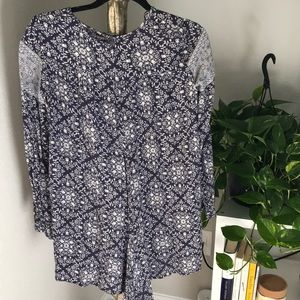 Zara Other - Blue and white floral Zara long sleeve romper